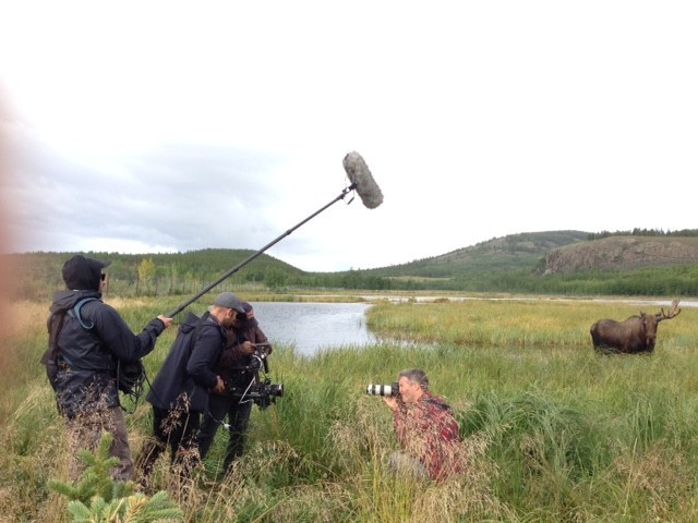 Our Mowad Productions team in the marsh filming Matthieu Paley on assignment outside of Whitehorse.